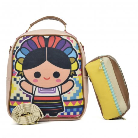 Duo Mochila Melly Lele grecas con cosmetiquera multicolor