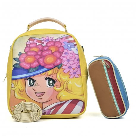 Duo Mochila Melly Candy flores con cosmetiquera  multicolor